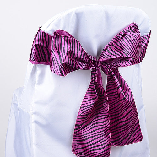 Fuchsia - Animal Print Satin Chair Sash - ( Pack of 10 Pieces - 6 inches x 106 inches )