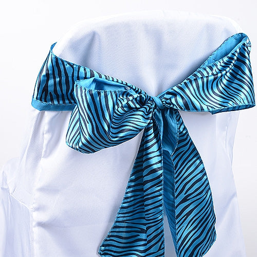 Turquoise - Animal Print Satin Chair Sash - ( Pack of 10 Pieces - 6 inches x 106 inches )