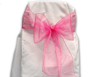 Hot Pink - Organza Chair Sash - ( Pack of 10 Piece - 8 inches x 108 inches )