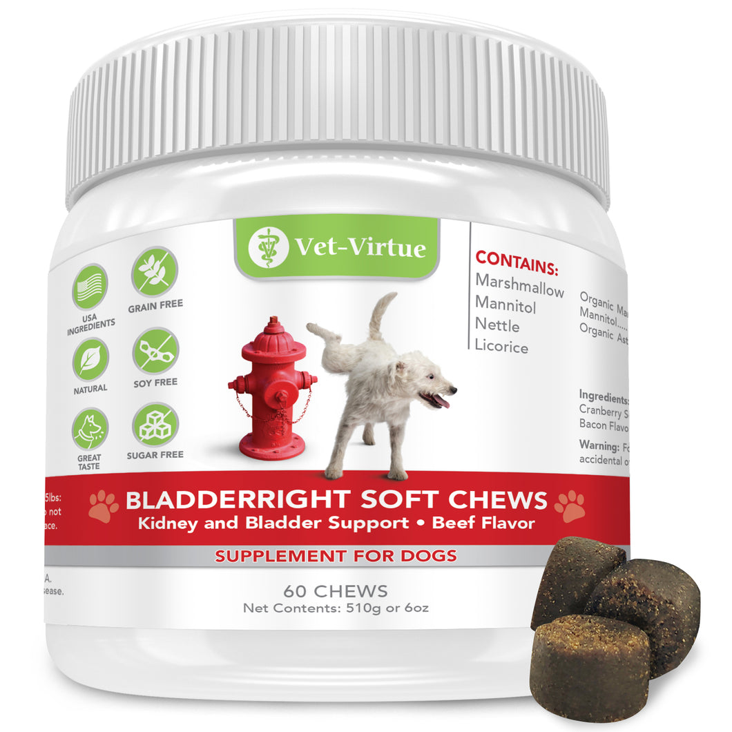 VET-VIRTUE Dog UTI Treatment- Soft Chew Cranberry Pills for Dogs with Organic D Mannose- Plus Organic Support Matrix Fights and Prevents UTI Infections