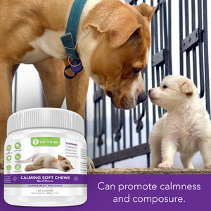 VET-VIRTUE Calming Treats for Dogs- Soft Chew Formula with Organic Hemp Oil for Dogs, Easy Consumption and Great Tasting with Organic Chamomile and Valerian Extract