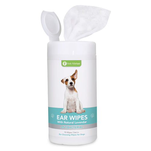 VET-VIRTUE Dog Ear Cleaner Wipes - Fragrance Free Ear Infection Treatment for Dogs, Halt Yeast, Mites and Itching, Large Soft Cotton Ear Wipes for Dogs