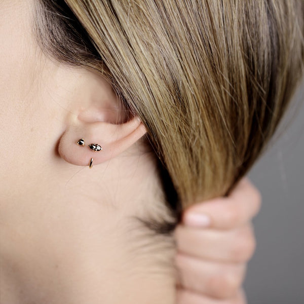 REVERSE BLACK DIAMOND GOLD STUD - MIRTA jewelry