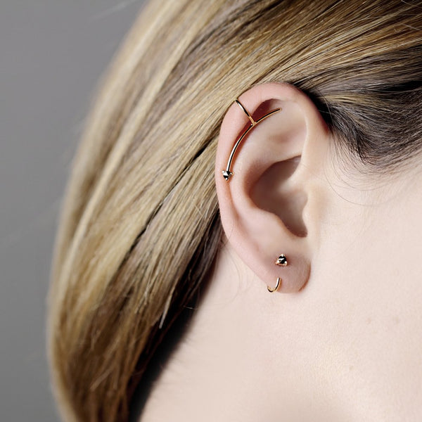 REVERSE BLACK DIAMOND GOLD EAR CUFF