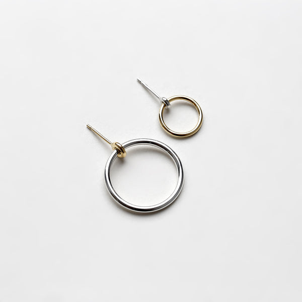 SILVER LARGE KINETIC HOOP EARRING