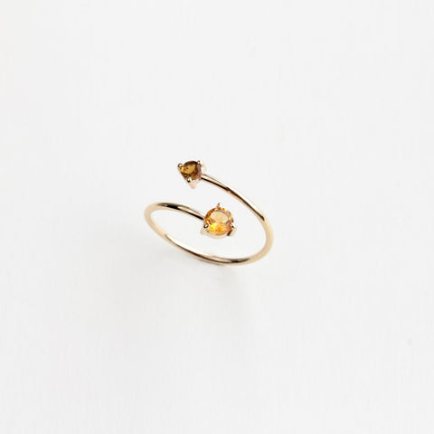 CITRINE AND TOURMALINE GOLD WRAP RING