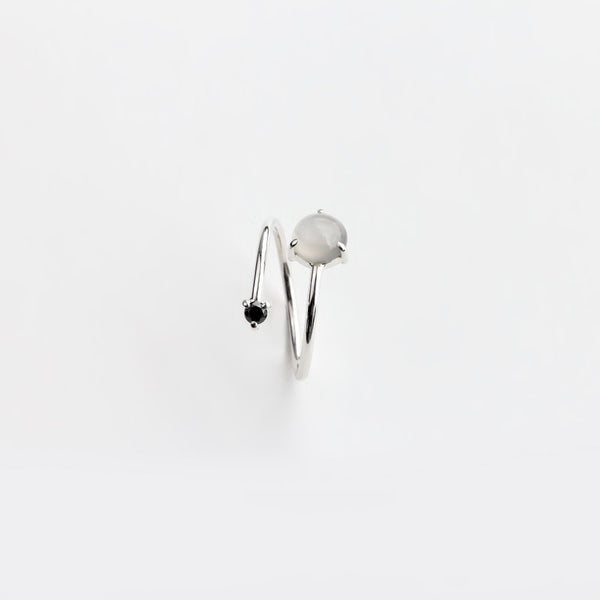 MOONSTONE AND DIAMOND WRAP RING