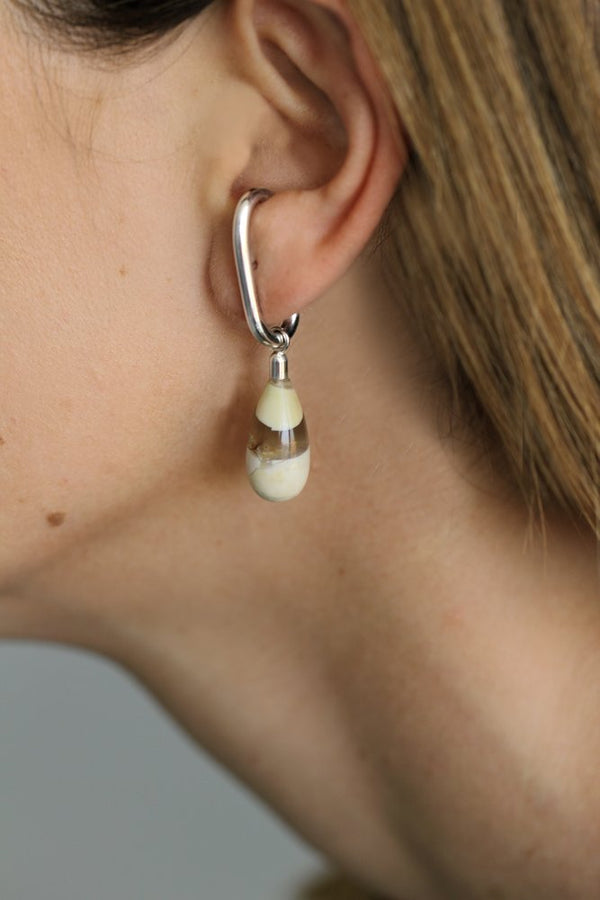 CREAM BRECCIATED MOOKAITE EARRING