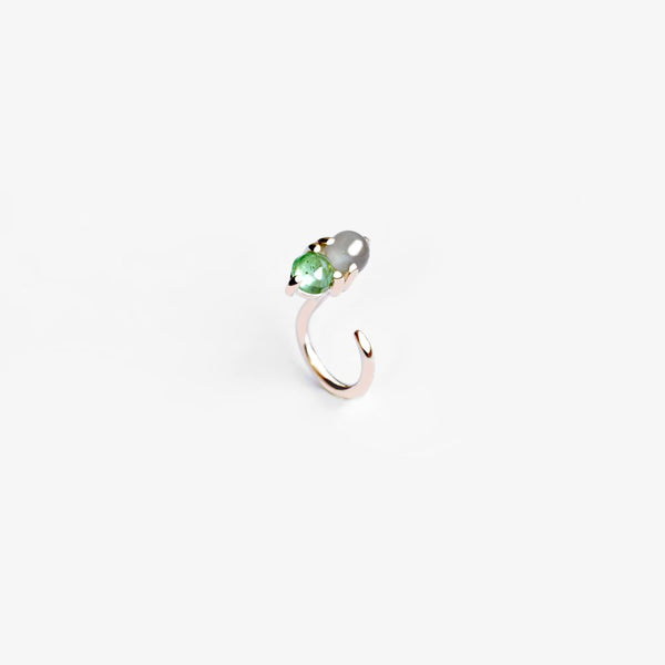 VERDANT EMERALD AND MOONSTONE HUG EARRING - MIRTA jewelry