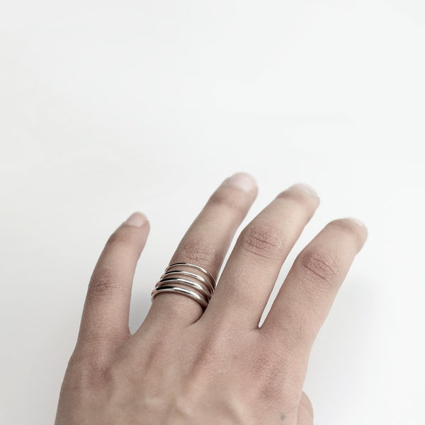 ESSENTIAL ROUND SILVER BAND RING - MIRTA jewelry