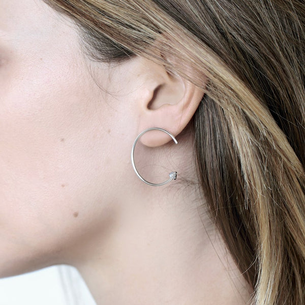 CIRCLE MOONSTONE SILVER EARRING - MIRTA jewelry