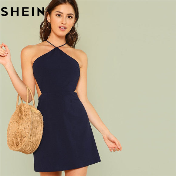 dbb197a34f SHEIN Women Navy Sleeveless Backless Sexy Club Mini Dress Summer Party  Strappy Back Zipper Solid Shift