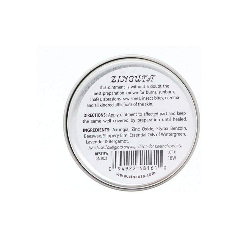 Zincuta Skin Ointment For Psoriasis, Eczema, Dry Skin, Chapped Lips, Poison Ivy Blisters, Burn Injuries, And Many More Skin Ailments (2 Oz Tin)