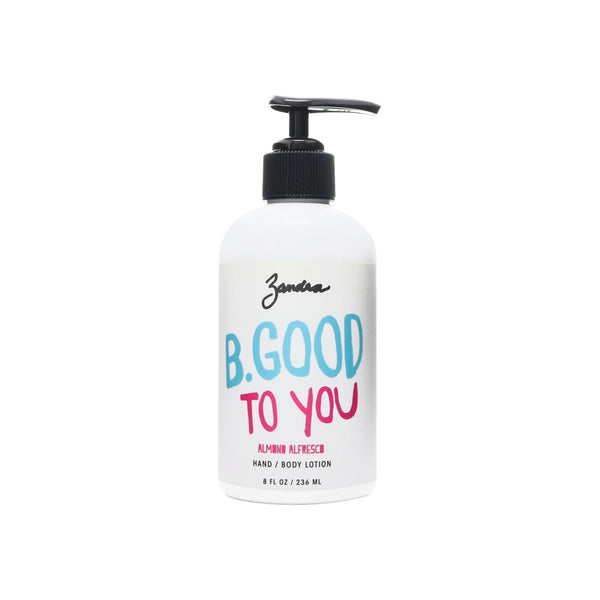 Zandra Hand+Body Lotion - Perfect For All Skin Types - Made with Jojoba Oil and Shea Butter, Fully Absorbent and Handmade - ALMOND ALFRESCO (8 oz)