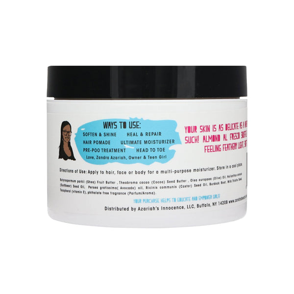 Zandra Hair+Body Souffle - Solid to Liquid Oil For Skin, Hair and Scalp. Unrefined Shea Butter, Olive, Sunflower, Avocado and Castor Oil - ALMOND ALFRESCO (8 oz)