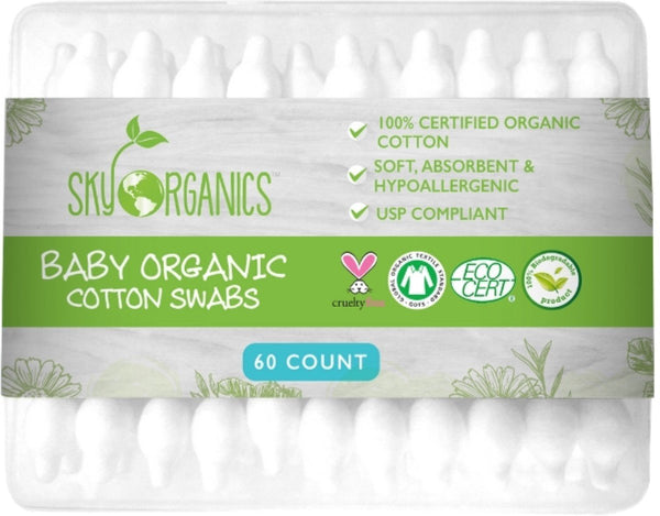 Sky Organics Cruelty-Free 100% Biodegradable Baby Cotton Swabs, 60 ct.