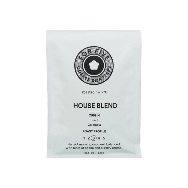 For Five Coffee Roasters House Blend Whole Bean Medium Roast
