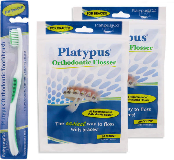 Platypus Ortho Flossers 2 Pack and Orthodontic Toothbrush Bundle