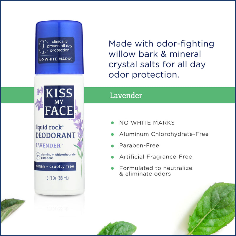 Kiss My Face Lavender Liquid Rock Roll on Deodorant 3oz, 1pc