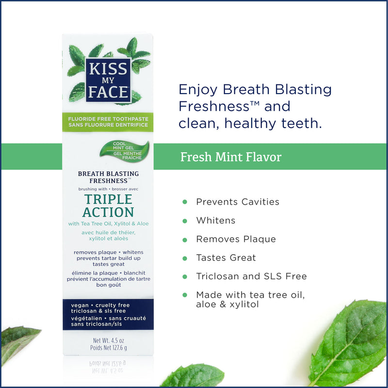 Kiss My Face Triple Action Fluoride Free Cool Mint Gel Toothpaste