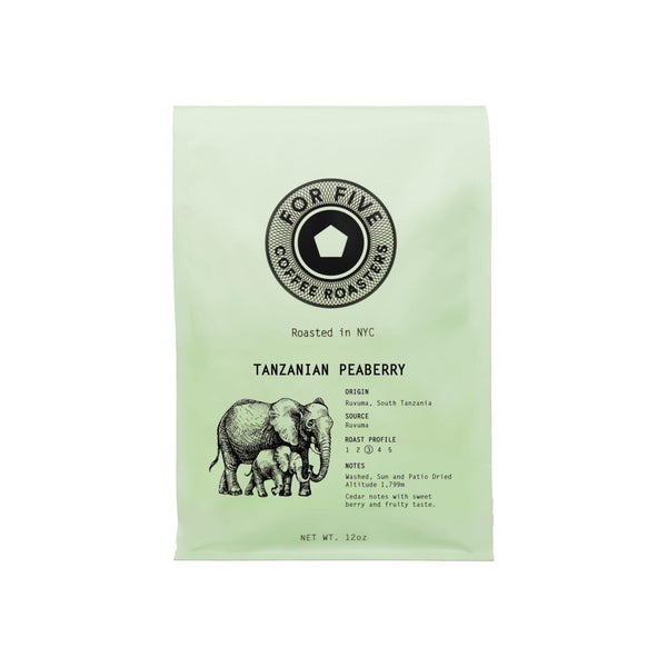 For Five Coffee Roasters Tanzania Peaberry Ground Medium Roast