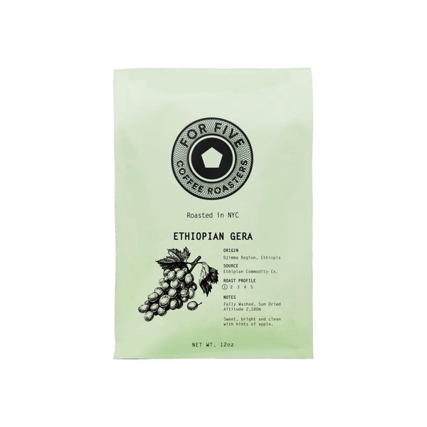 For Five Coffee Roasters Ethiopian Gera Whole Bean Light Roast
