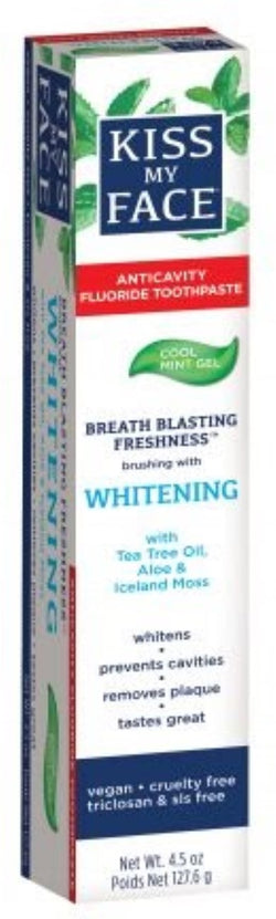Kiss My Face Whitening Cool Mint Fluoride Gel Toothpaste