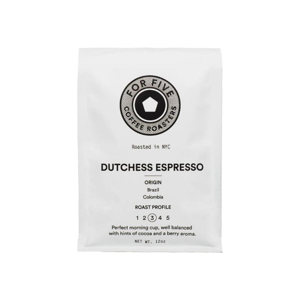 For Five Coffee Roasters Dutchess Espresso Whole Bean Medium Roast
