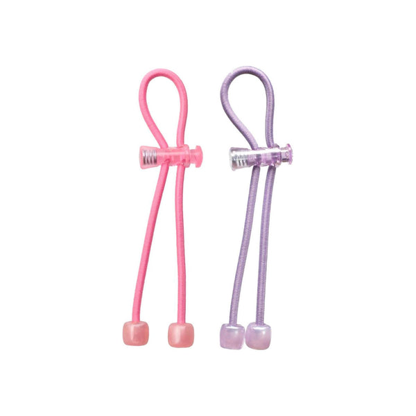 Pulleez Set of 2 Sliding Pony tail holders- pink & purple acrylic (1 ea)