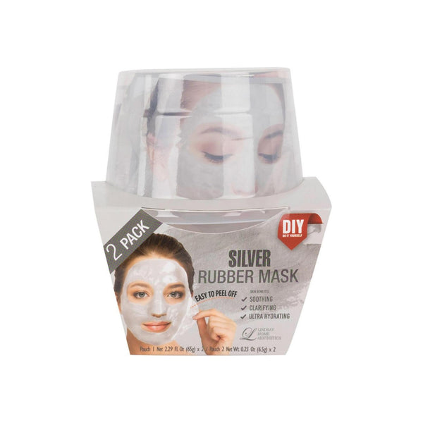 LINDSAY HOME AESTHETICS 2 Pack Silver Rubber Mask  5.04 oz [192084000141]