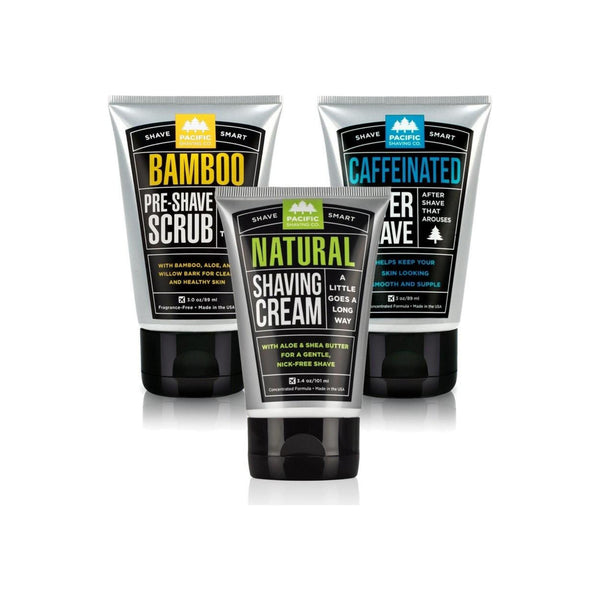 Pacific Shaving Company  Daily Shave Regimen Set - Bamboo Pre-Shave Scrub, Natural Shaving Cream, Caffeinated Aftershave 1  ea [186356000335]