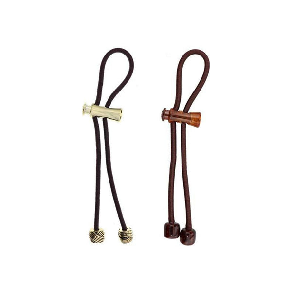 Pulleez Sliding Ponytail Holder, Set of 2 - Brown Acrylic Charm/ Gold Knot Metal Charms - Brown Elastic Hair Tie