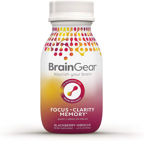 BrainGear Brain Booster Natural Nootropic Supplement - Blackberry Hibiscus - 3-pack