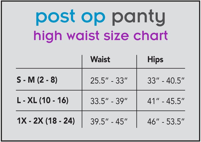 Post Op Panty High Waist w/ Silicone 1X/2X, Black