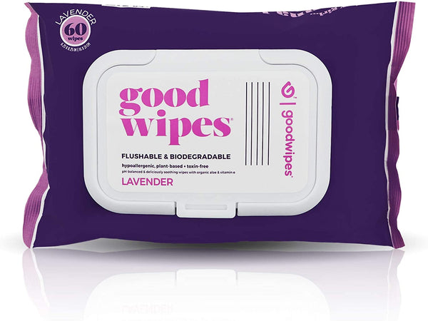 Goodwipes Flushable Wet Wipes, Lavender Scent, 60 Wipe Pack, 1 Count