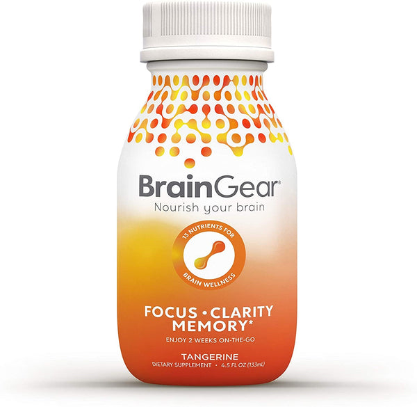 BrainGear Brain Booster Natural Nootropic Supplement - Tangerine - 3-pack