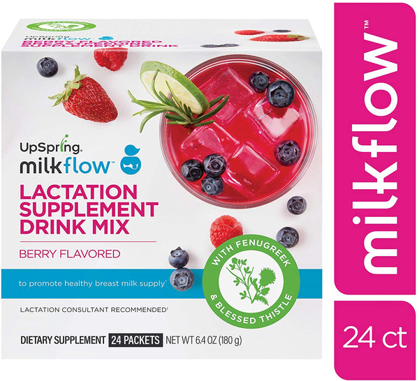 UpSpring MilkFlow Lactation Supplement Drink Mix, Berry Flavored | 24 CT