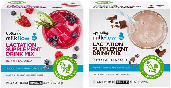 UpSpring Milkflow Berry & Chocolate Drink Mix Bundle