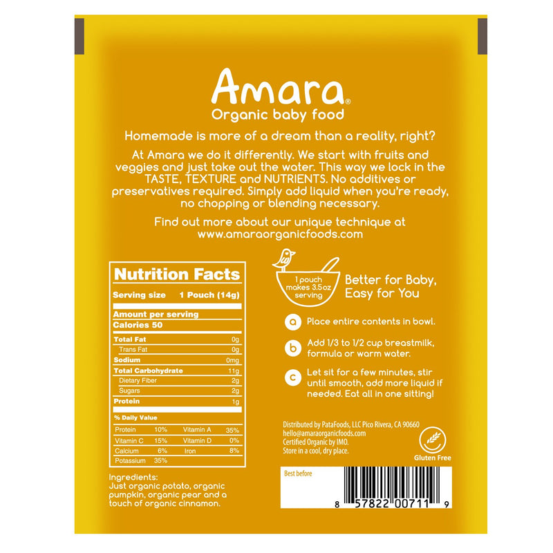 Amara Organic Pumpkin & Pear Baby Food