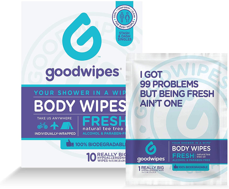 Goodwipes Body Wipes, Fresh Scent, 10 Individually Wrapped Wet Wipes