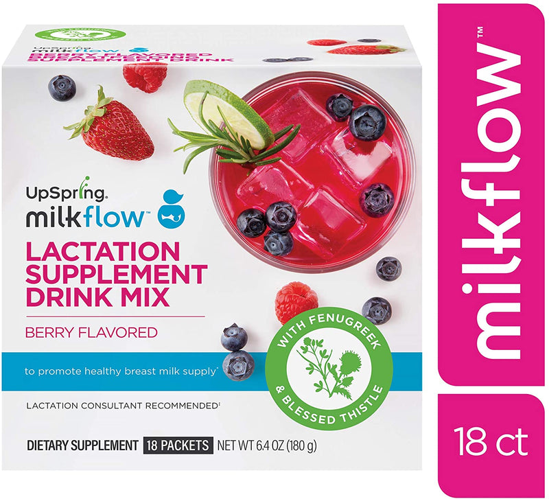 UpSpring MilkFlow Lactation Supplement Drink Mix - Berry Flavored 18Ct