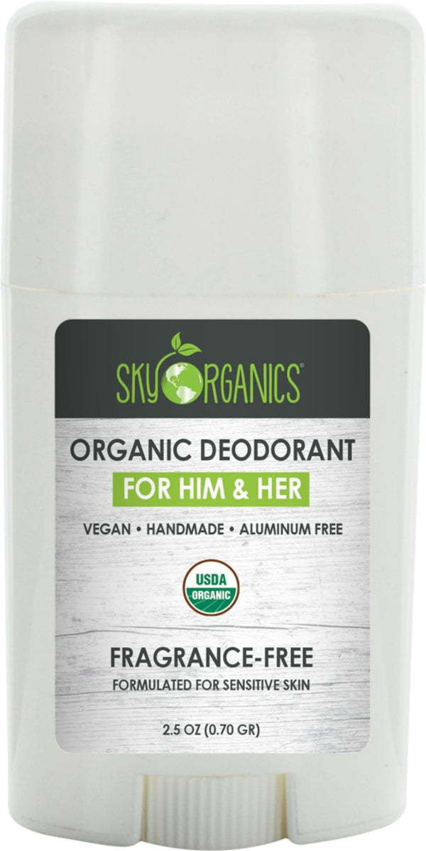 Sky Organics USDA Organic Deodorant For Him & Her, Fragrance-Free, 2.5 oz