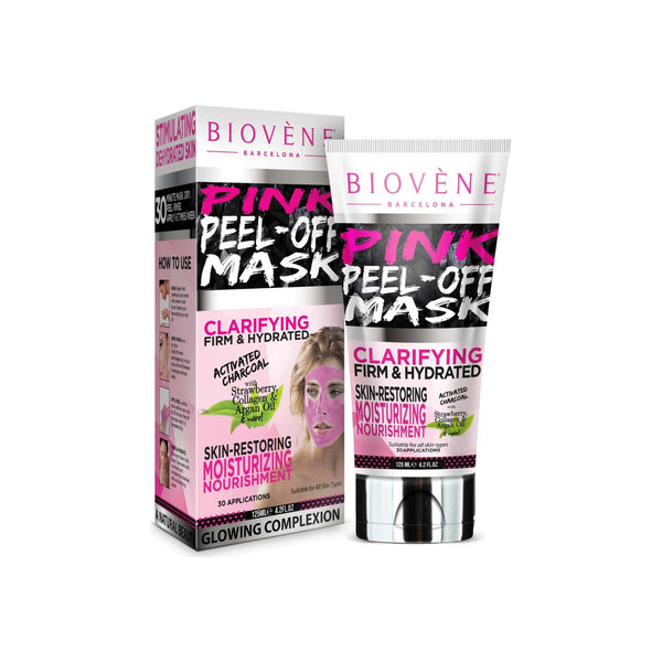 Biovène Pink Peel Off Mask,4.2 oz Tube, Activated Charcoal, Strawberry Extract and Collagen