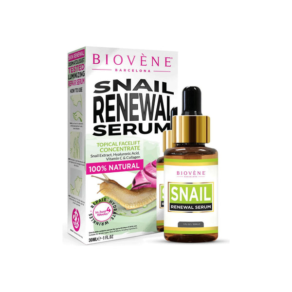 Biovène Snail Renewal Serum, 1 oz, Deeply Moisturizes to Regain Skin Elasticity - Snail Face Serum Dissolves Abnormal Tissue and Boosts the Generation of New Cells, Helps Control Aging