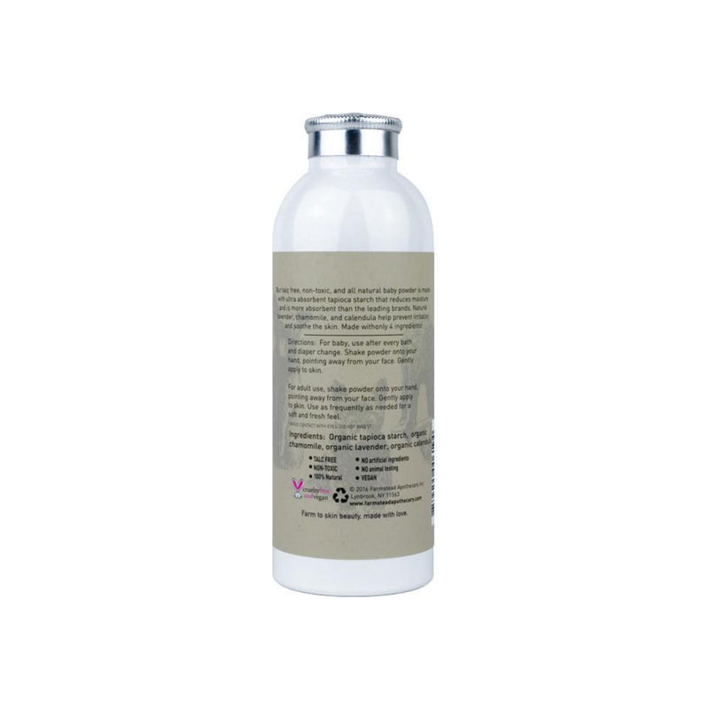Farmstead Apothecary 100% Natural Baby Powder with Organic Tapioca Starch, Lavender & Chamomile 4 oz