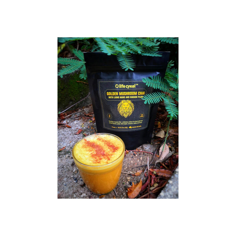 Life Cykel Fresh Golden Mushroom Chai with Lions Mane Mushroom and Kakadu Plum - Our Supremely Delicious Healthy Fusion will Support a Healthy and Happy Lifestyle - (16 Servings) - 250g