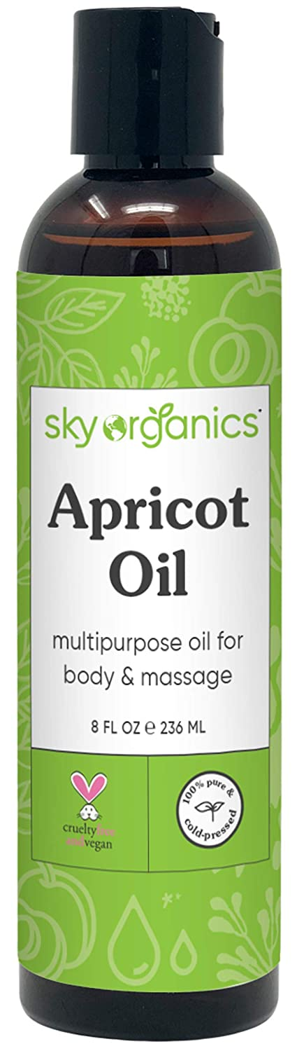 Apricot Oil by Sky Organics (8 fl oz) 100% Pure Natural and Cold-Pressed Apricot Kernel Skin Oil Apricot Massage Oil Body Oil Apricot Body Moisturizer Apricot Carrier Oil for Essential Oils and DIY