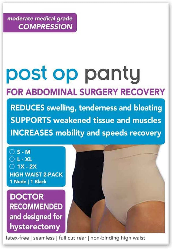 Post Op Panty High Waist 2-Pack S/M, Nude/Black