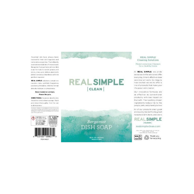 Real Simple Clean Bergamot Liquid Dish Soap