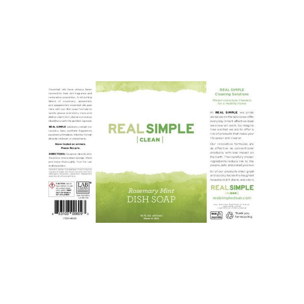 Real Simple Clean Rosemary Mint Liquid Dish Soap